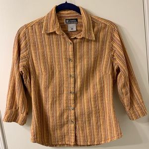 Columbia striped 3/4 sleeve button up shirt Size S